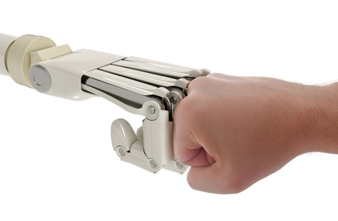 robot human fist bump